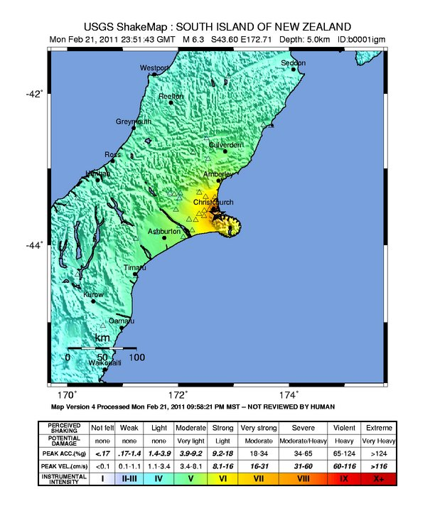 Chirstchurch, New Zealand earthquake shake map