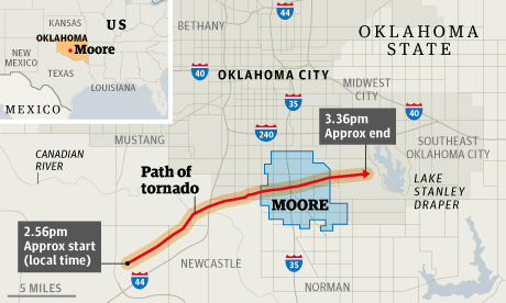 Tornado track through Moore, Oklahoma