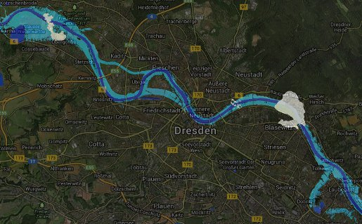 PERILS Satellite flood footprint image for Dresden, Germany flooding