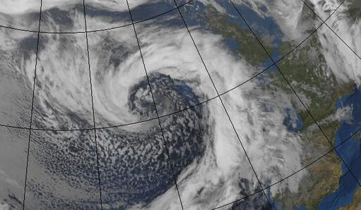 European windstorm Ruth satellite image