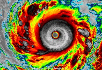 Infra-red satellite imagery shows super typhoon Vongfong's well-defined eye