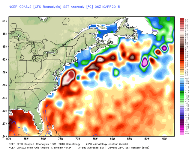 U.S. east coast sea surface temperature anomalies