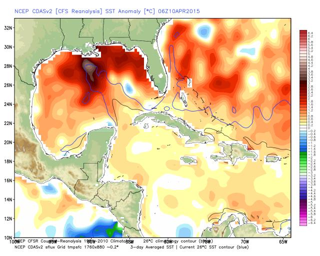U.S. Gulf Coast sea surface temperature anomalies