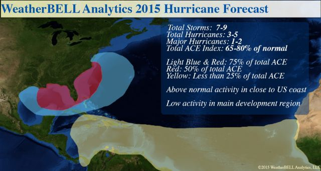 WeatherBell 2015 Hurricane Forecast map