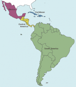 Map of Latin America via University of Texas Latin American Network Information Center