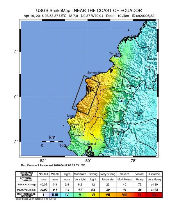 Ecuador earthquake shakemap