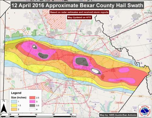 April 12th Texas hail storm map