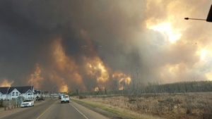 Fort McMurray, Alberta wildfire picture from AP via BBC