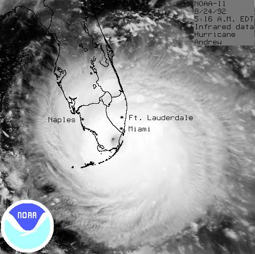 Hurricane Andrew satellite image