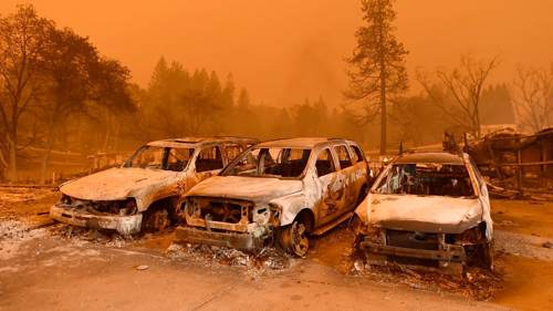 Camp wildfire California damage (photo via the BBC website)