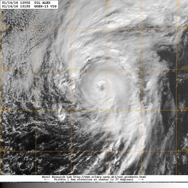 Hurricane Alex satellite image