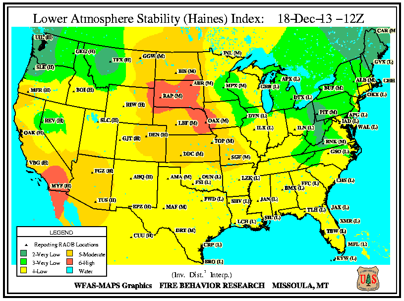 Haines wildfire potential index
