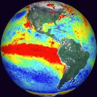 El Nino - picture of a heated Pacific Ocean