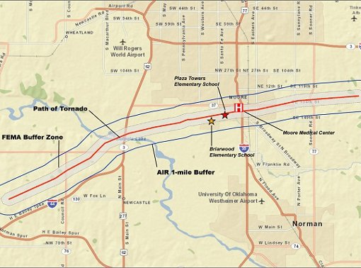 Buffer zones around the Moore tornado track used in replacement value estimation