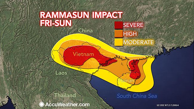 Impact forecast map for typhoon Rammasun