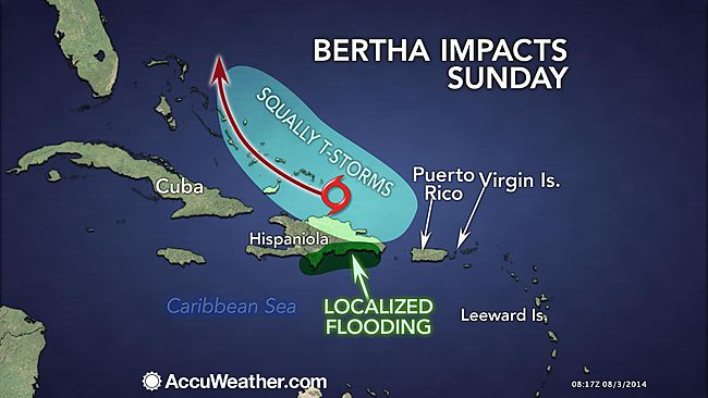 Impact forecast map for tropical storm Bertha