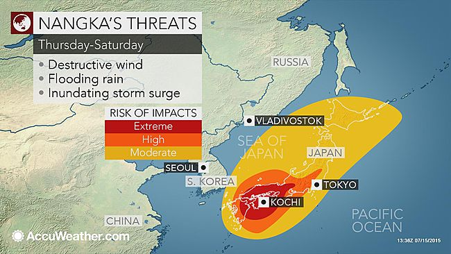Typhoon Nangka threatens wind, rain and storm surge for Japan