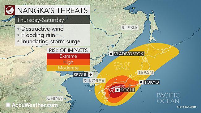 Typhoon Nangka threatens wind, rain and storm surge for Japan
