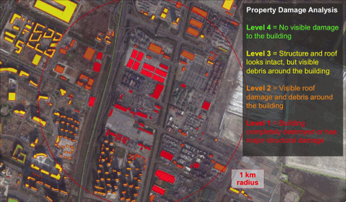 Tianjin explosions satellite image from Guy Carpenter's CAT-VIEW