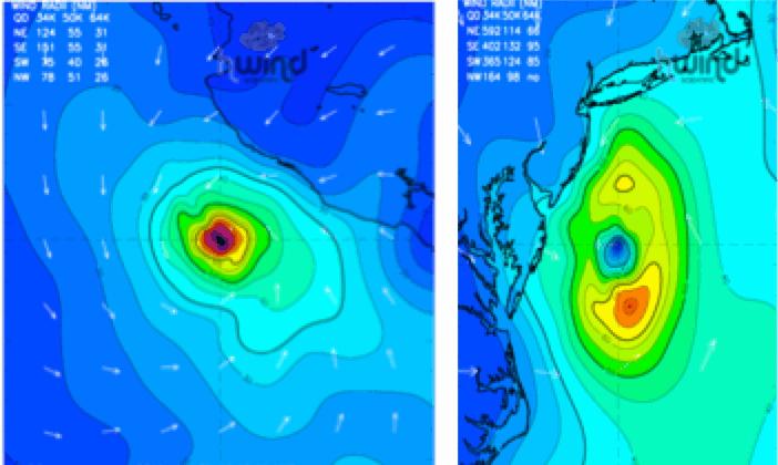 Fig 1: Wind field maps from HWind