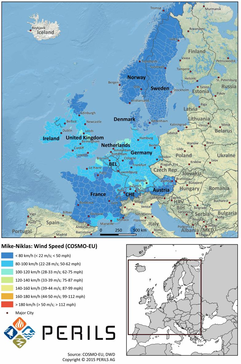 Windstorms Mike-Niklas windspeed map
