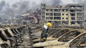 Tianjin explosion aftermath - Picture from BBC website