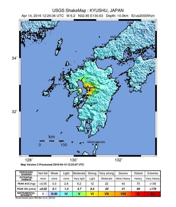 Kumamoto, Japan earthquake shake map
