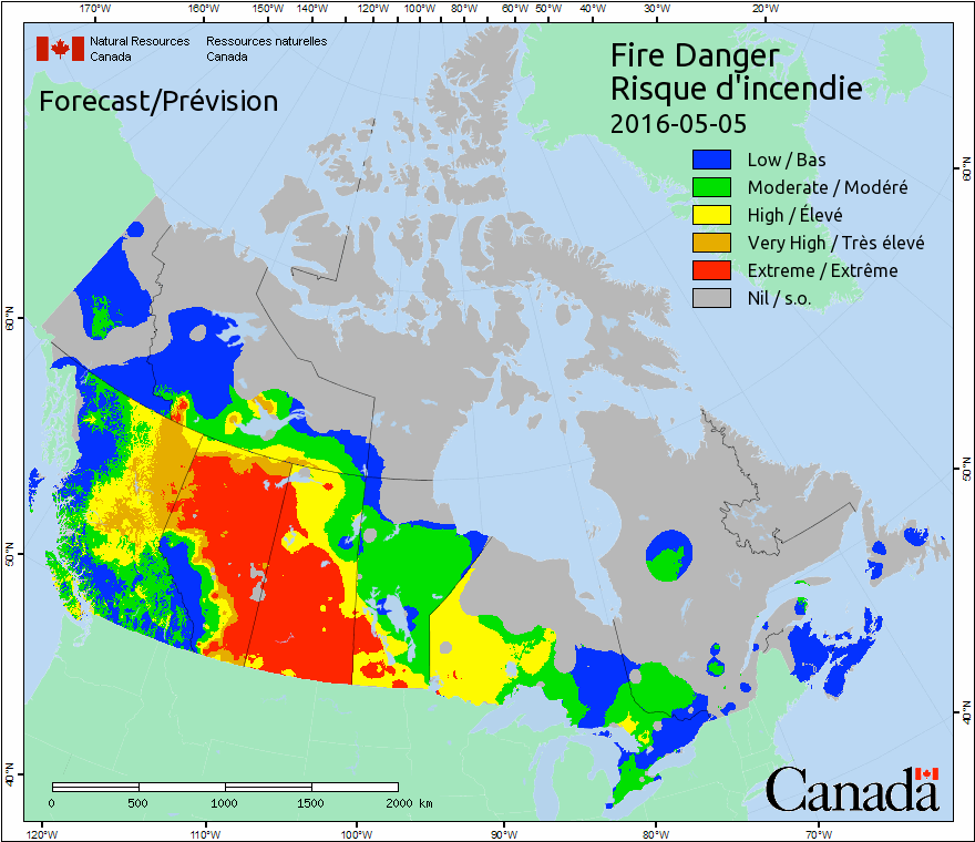 Fort McMurray wildfire weather forecast map