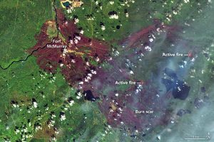 Fort McMurray wildfire burn scar image from NASA