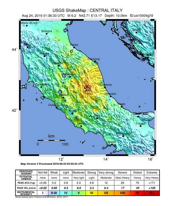 Earthquake shake map, for Umbria Italy