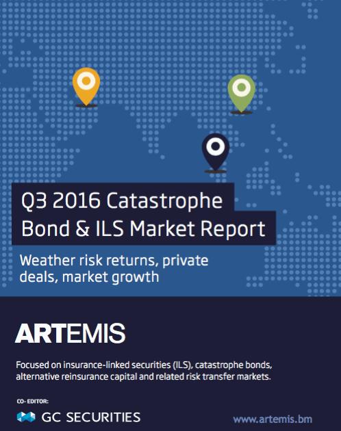 Q3 2016 Catastrophe Bond & ILS Market Report – Weather risk returns, private deals, market growth