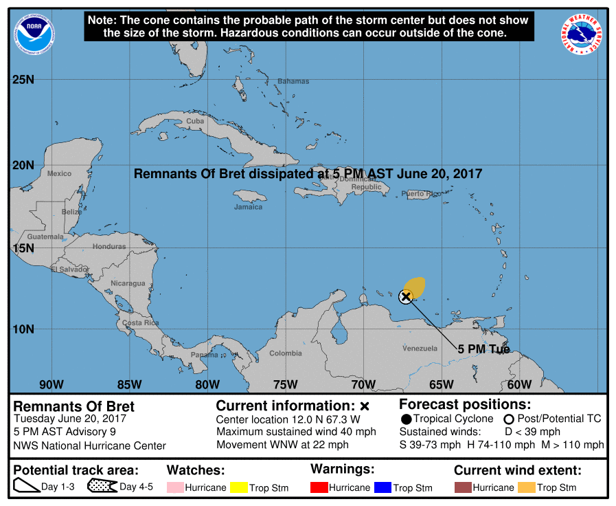 Tropical storm Bret tracking map and forecast path
