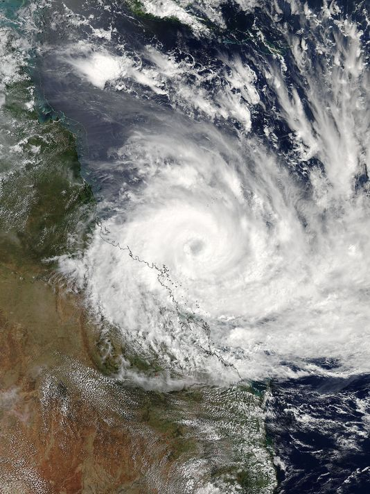 Cyclone Debbie satellite image via USA Today