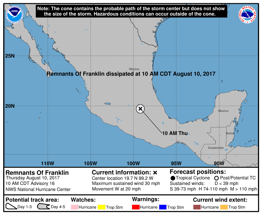 Tropical storm Franklin forecast path and track