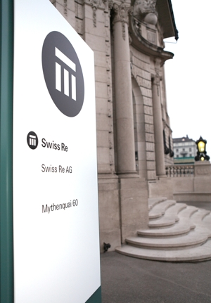 Swiss Re logo and building