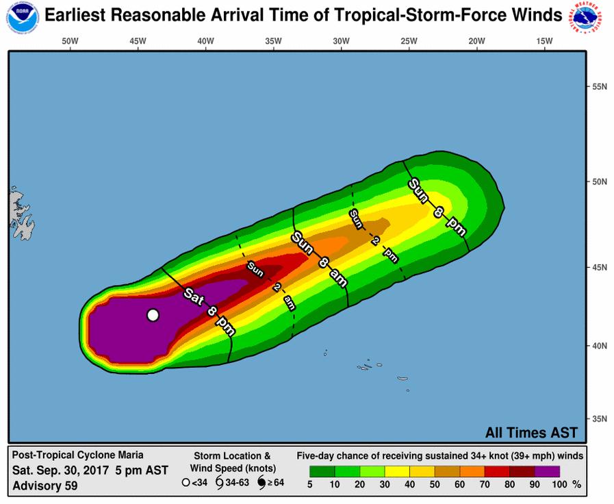Hurricane Maria tropical storm force winds forecast