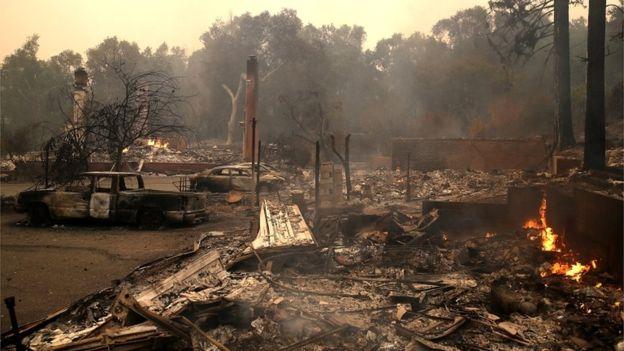 California wildfire image from Getty, via BBC