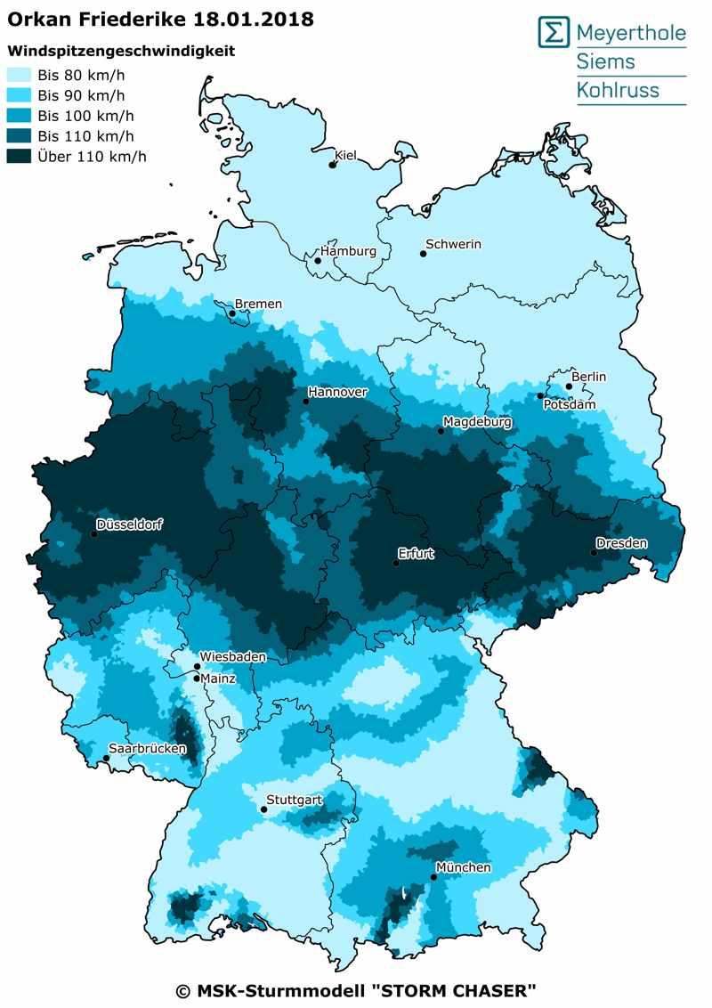Storm Friederike map