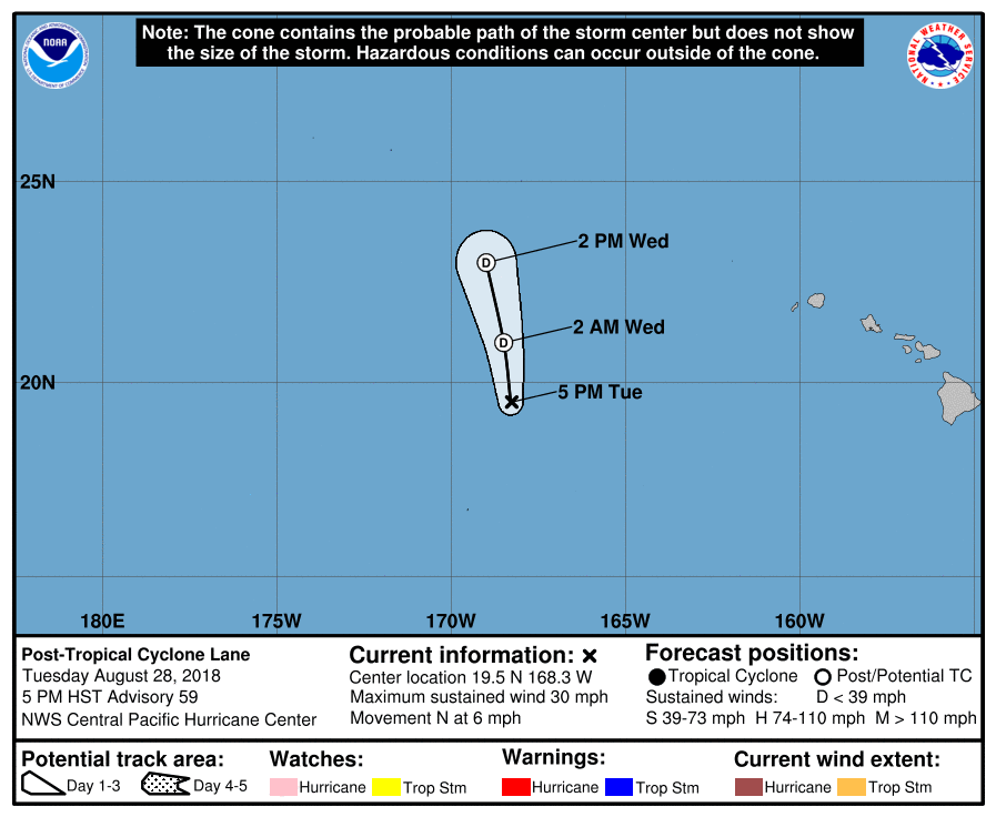 Hurricane Lane forecast track and expected path