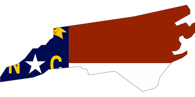 North Carolina map and flag