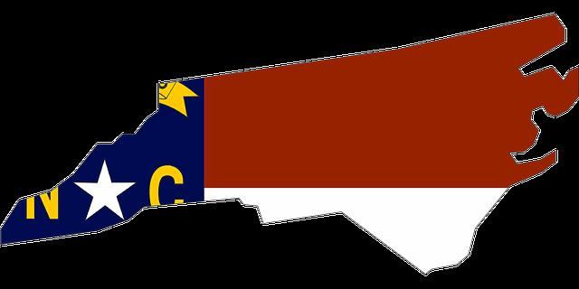 North Carolina map and flag