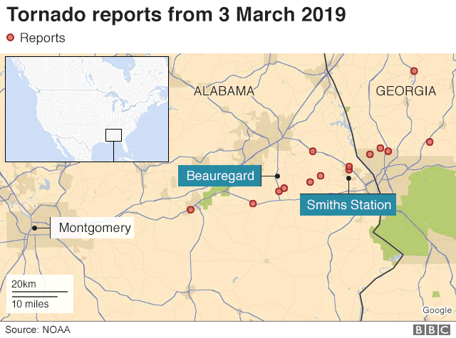Map Of Georgia Alabama.Tornado Outbreak Causes Multiple Deaths Damage In Alabama