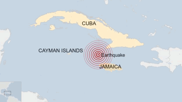 Caribbean earthquake location map, from the BBC